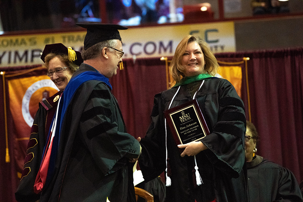 Tina Johnson receives honor at Fall 2019 commencement